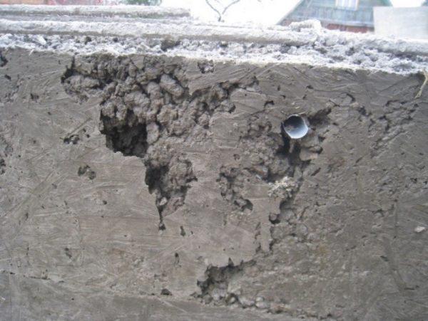 Каверны бетона в 15 раствор цементный